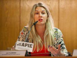 Liz Fleming, Vicepresidenta Internacional de Spain Startups, durante la presentación organizada con la APIE de la feria de emprendedores South Summit 2015.