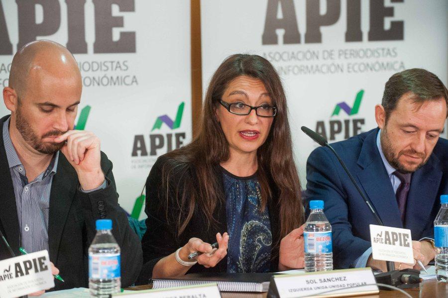Sol Sánchez, de Unidad Popular, durante su intervención en el debate económico organizado por APIE.