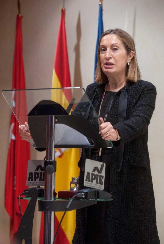 La Ministra de Fomento, Ana Pastor, en un momento de su intervención para agradecer su accésit en el premio Tintero.