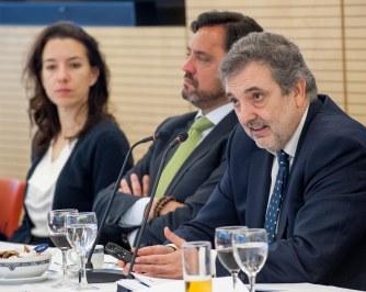 Luis Miguel Gilpérez, Presidente de Telefónica España, durante el almuerzo de prensa.