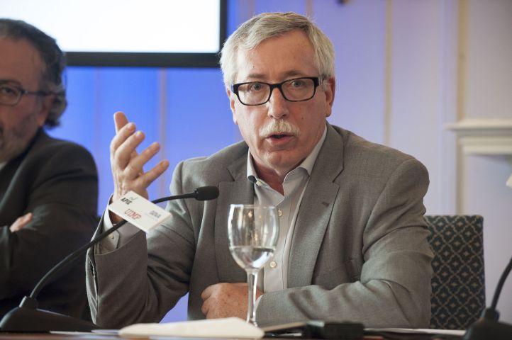 Ignacio Fernández Toxo, Secretario General de CC.OO, durante su intervención en el curso de economía organizado por APIE en la Universidad Internacional Menéndez Pelayo de Santander.