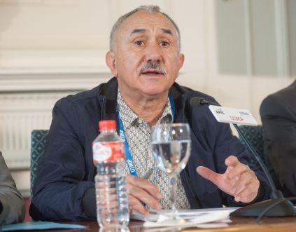 Pepe Álvarez, Secretario general de UGT, durante su intervención en el Curso de Economía organizado por la APIE en la Universidad Internacional Menéndez Pelayo de Santander.