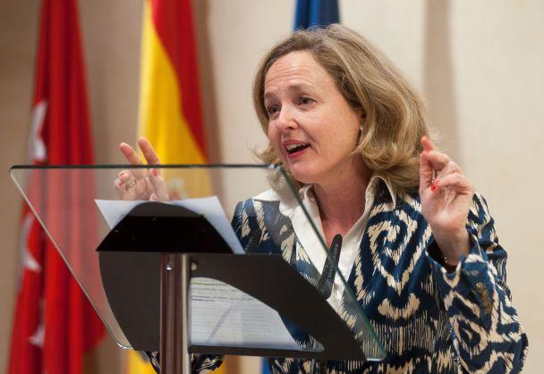 Nadia Calviño, Ministra de Economía y Empresa, durante durante su discurso de agradecimiento por obtener el accesit de los premios Secante.