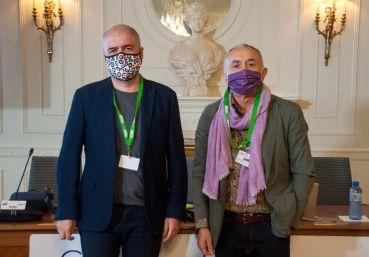 Unai Sordo y Pepe Álvarez, Secretarios Generales de CCOO y UGT, a su llegada al curso de economía organizado por la APIE en la UIMP de Santander.