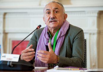 Pepe Álvarez, Secretario General de UGT, durante la sesión protagonizada por los sindicatos en el curso de verano organizado por la APIE en l Universidad de Santander.