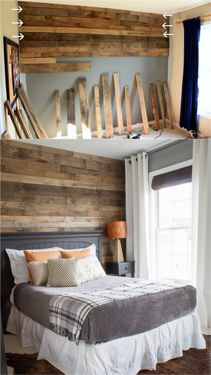 Shiplap Wall and Pallet Wall: 30 Beautiful DIY Wood Wall ... on Pallet Ideas For Bedroom  id=48178