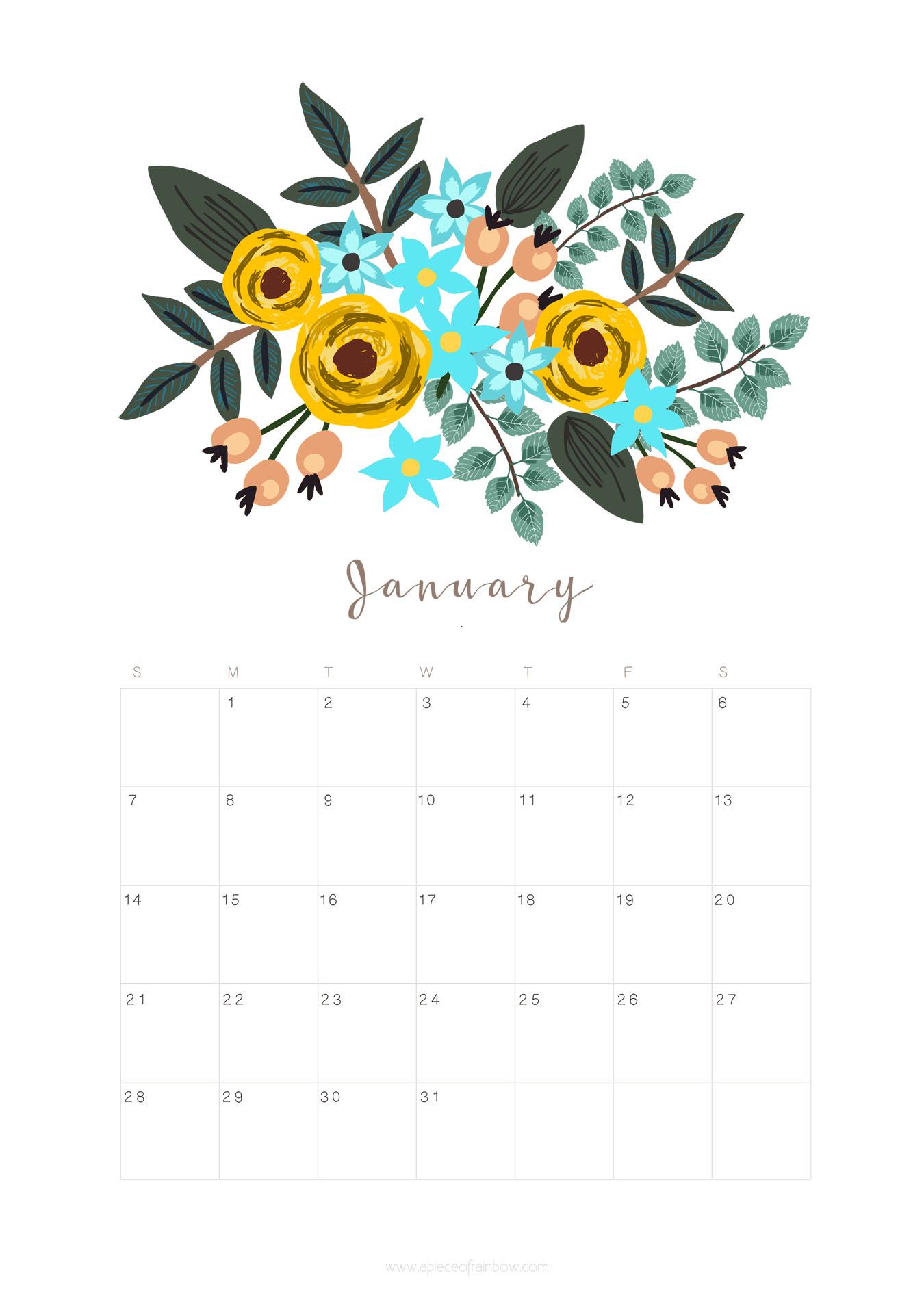 Printable January Calendar Monthly Planner