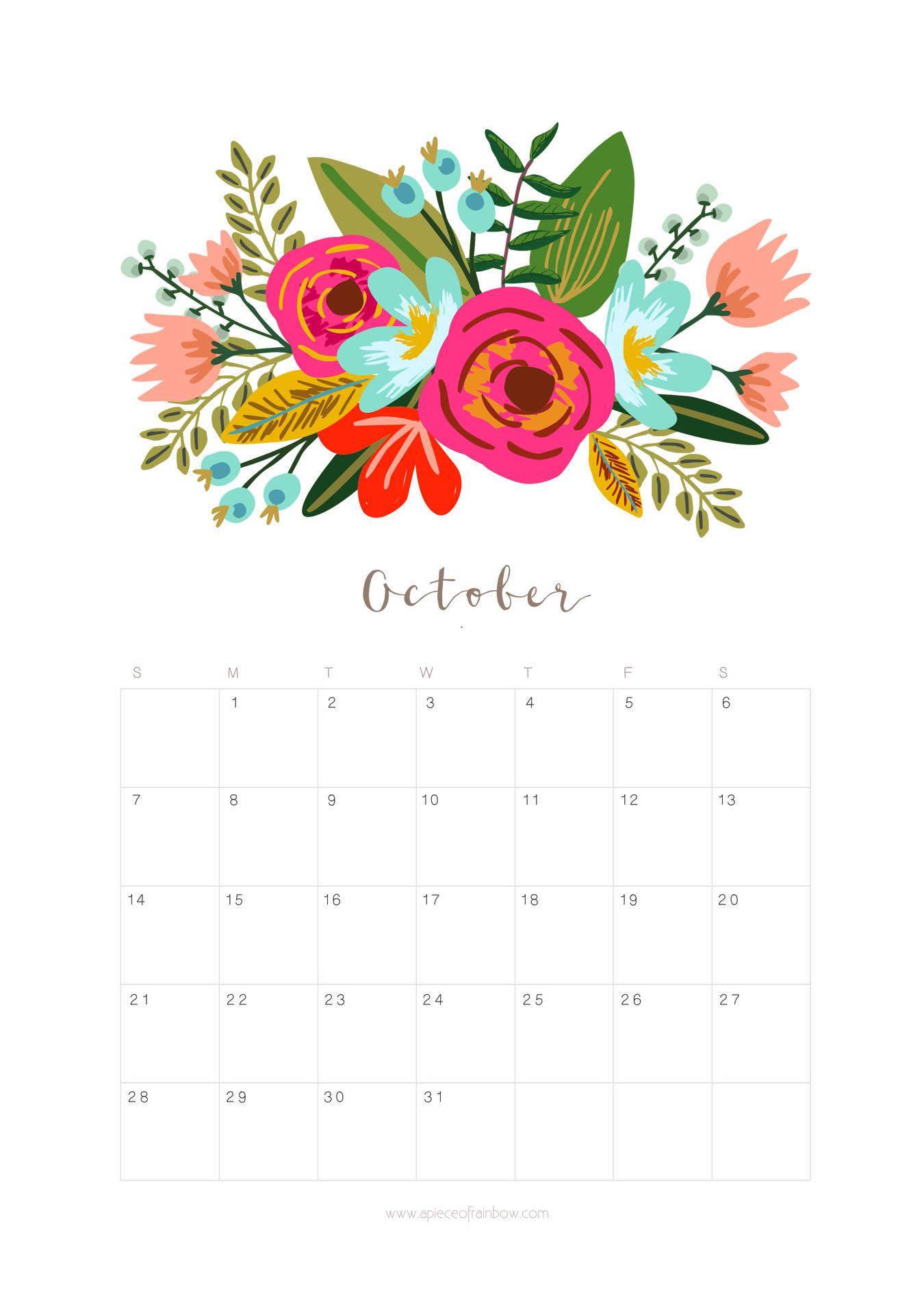 Free October Calendar Print