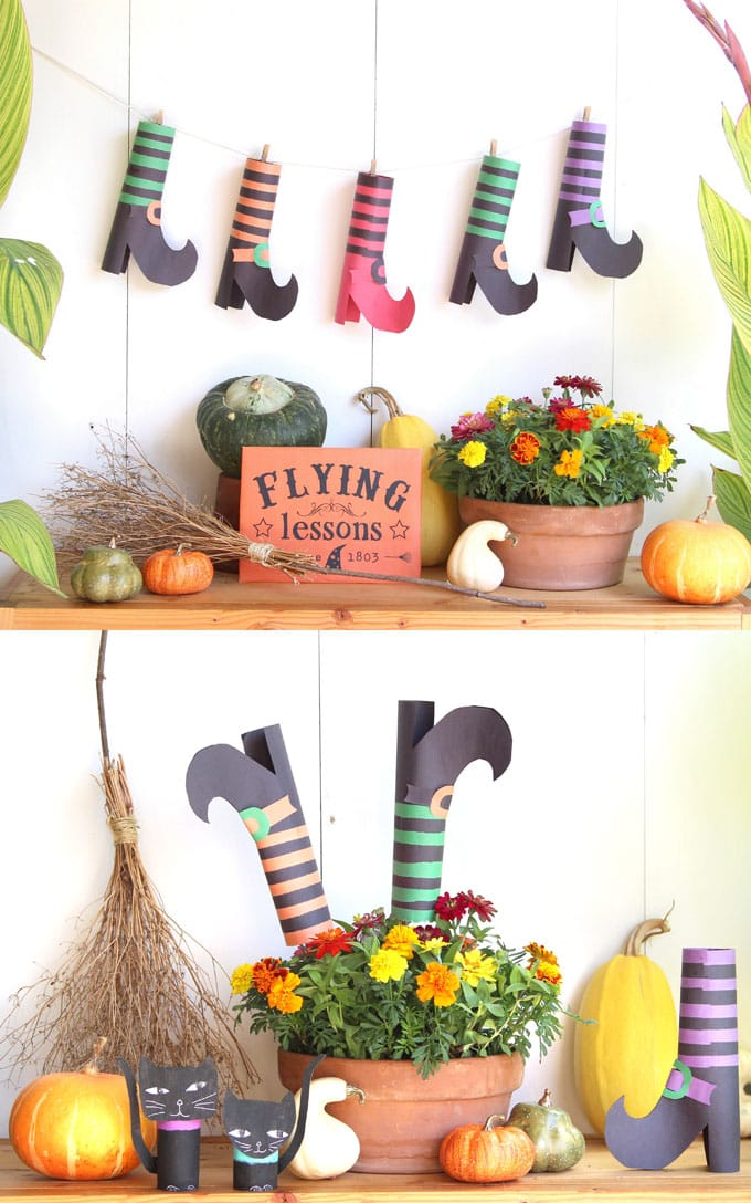 colorful witches shoes witches legs Halloween decorations, wreaths, centerpiece, & kids Halloween crafts!