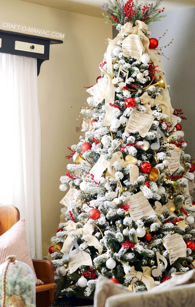 christmas tree decorating ideas elegant decorations how to decorate white red ribbon tutorials apieceofrainbow 14 - 42 Gorgeous Christmas Tree Decorating Ideas { & Best Tutorials!}