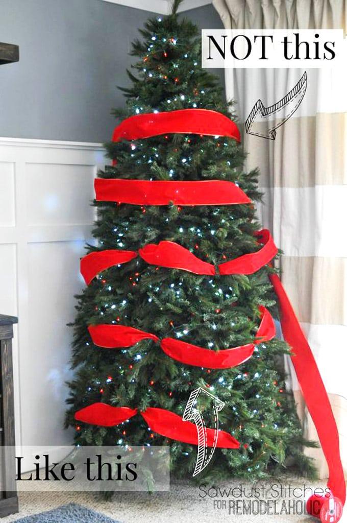christmas tree decorating ideas elegant decorations how to decorate white red ribbon tutorials apieceofrainbowblog 8 - 42 Gorgeous Christmas Tree Decorating Ideas { & Best Tutorials!}
