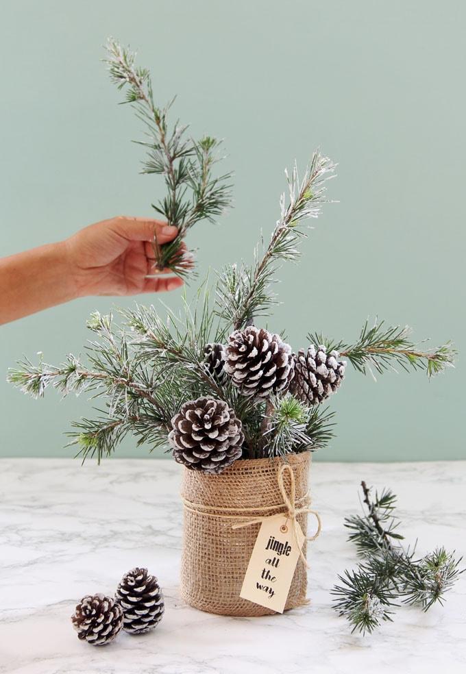 snowy pine cone tree winter christmas DIY table centerpiece wedding decorations crafts apieceofrainbow 11 - 42 Gorgeous Christmas Tree Decorating Ideas { & Best Tutorials!}