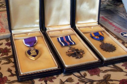 Joe's war medals including his posthumously awarded Purple Heart