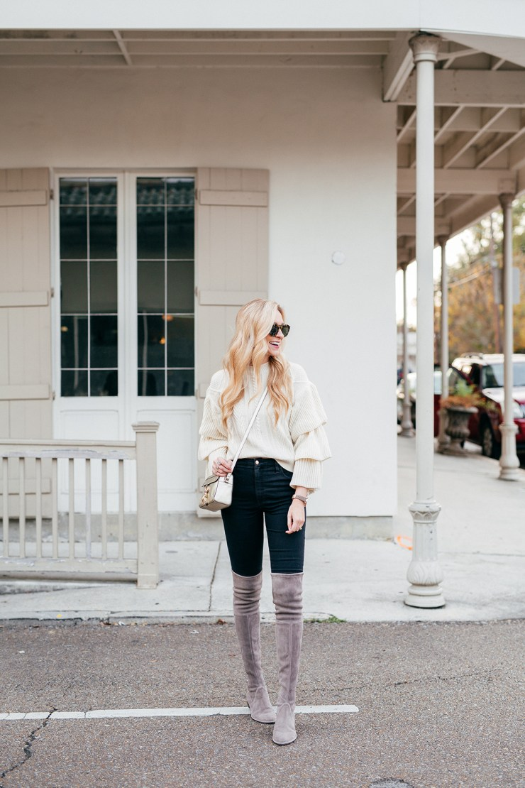 statement sleeve top + over the knee boots