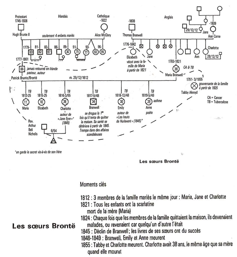 Génosociogramme des sœurs Brontë