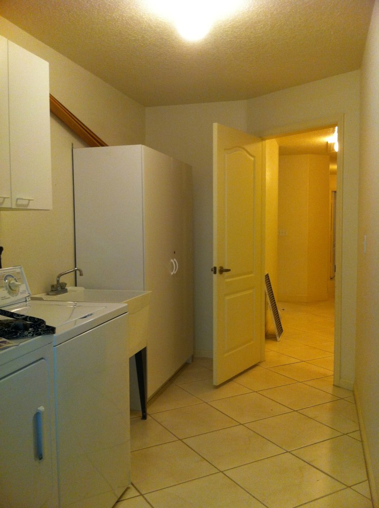washer dryer, beige walls, beige floors