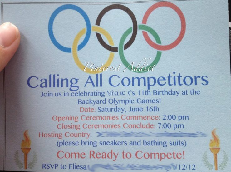 Olympic birthday party invitation - Check out more ideas for a Olympics themed birthday party on the blog!