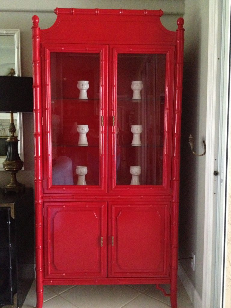Faux bamboo china cabinet makeover in Sunrise Red