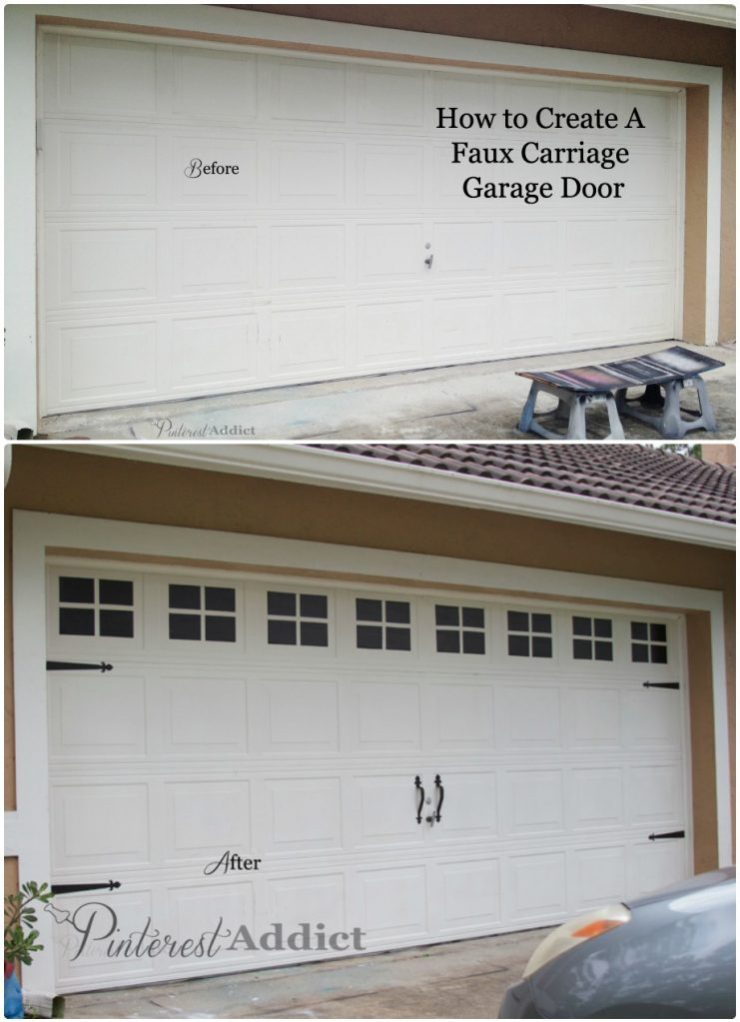 Faux Carriage Garage Door - garage door before and after