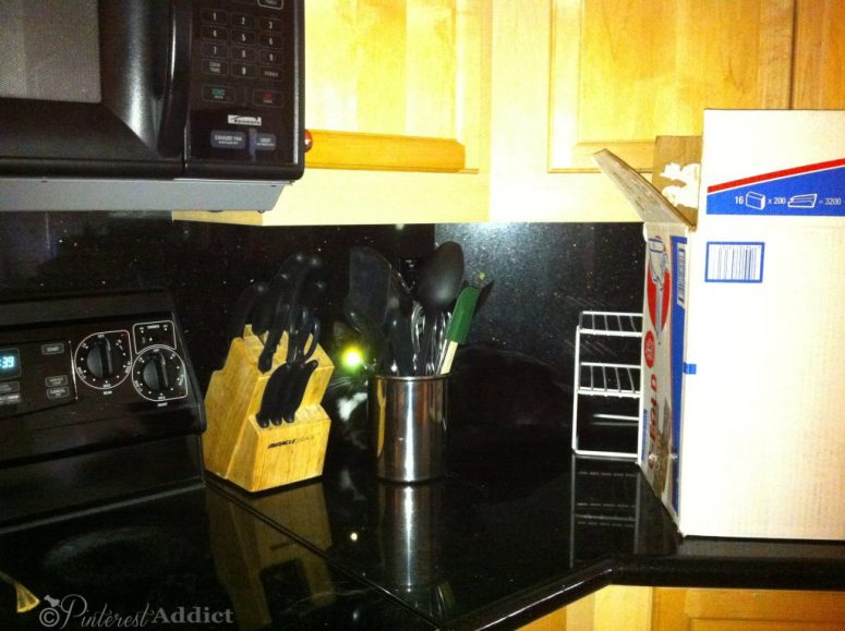 The old counter and backsplash -  Ikea Kitchen reveal