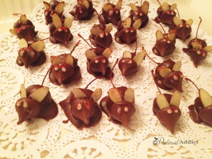 Pins I've Tried - Halloween mice - Hershey's kisses, maraschino cherries, almond slivers and frosting for eyes