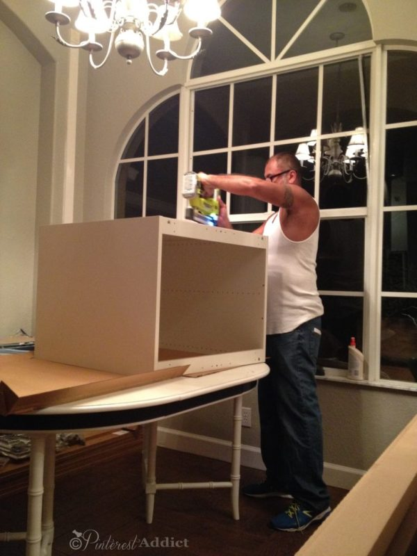 Ikea cabinet assembly begins