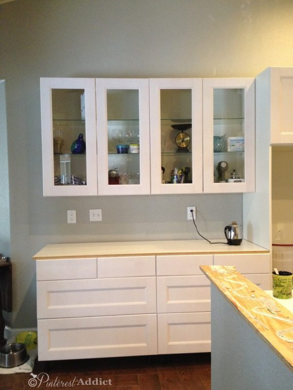 Glass front Ikea cabinets