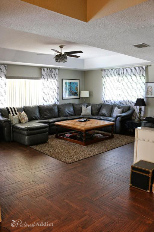 Family room - love those herringbone wood tiles