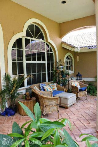 Front porch patio - herringbone stamped concrete