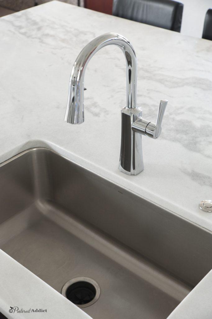 Moen Etch Faucet - Calcita Quartzite counters - Our Pinterest Inspired Kitchen