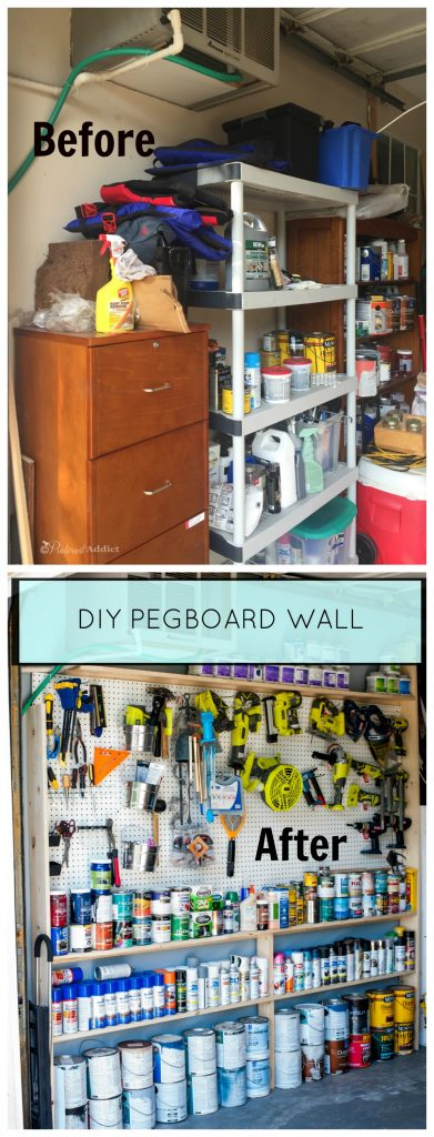 Garage organization - A quick before and after of the wall before I built the Pegboard storage wall