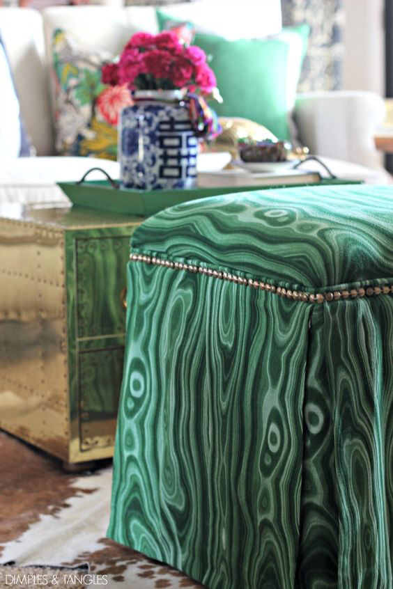 Gorgeous footstool from Dimples and Tangles
