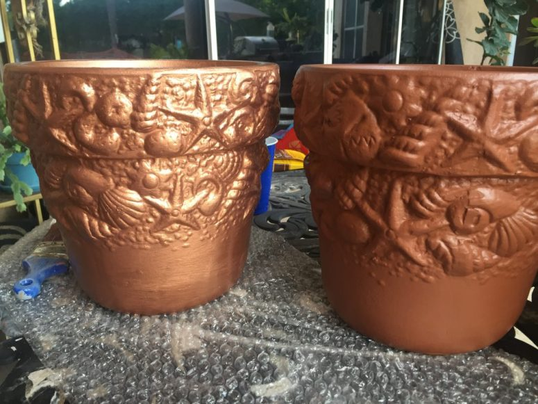 Modern Masters Copper paint - Copper Patina Flower Pots
