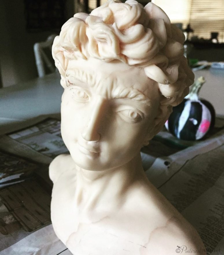 Greek god bust update using Modern Masters Copper Patina paint