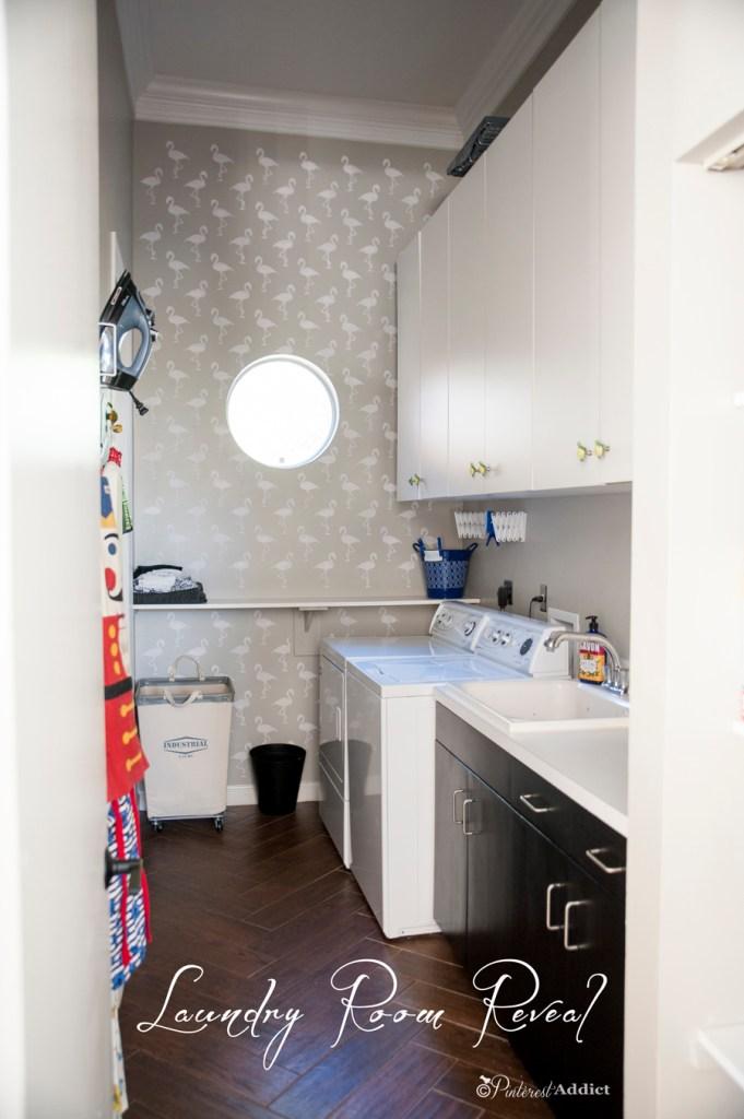 $100 Room Challenge Laundry Room Reveal - Flamingo stencil