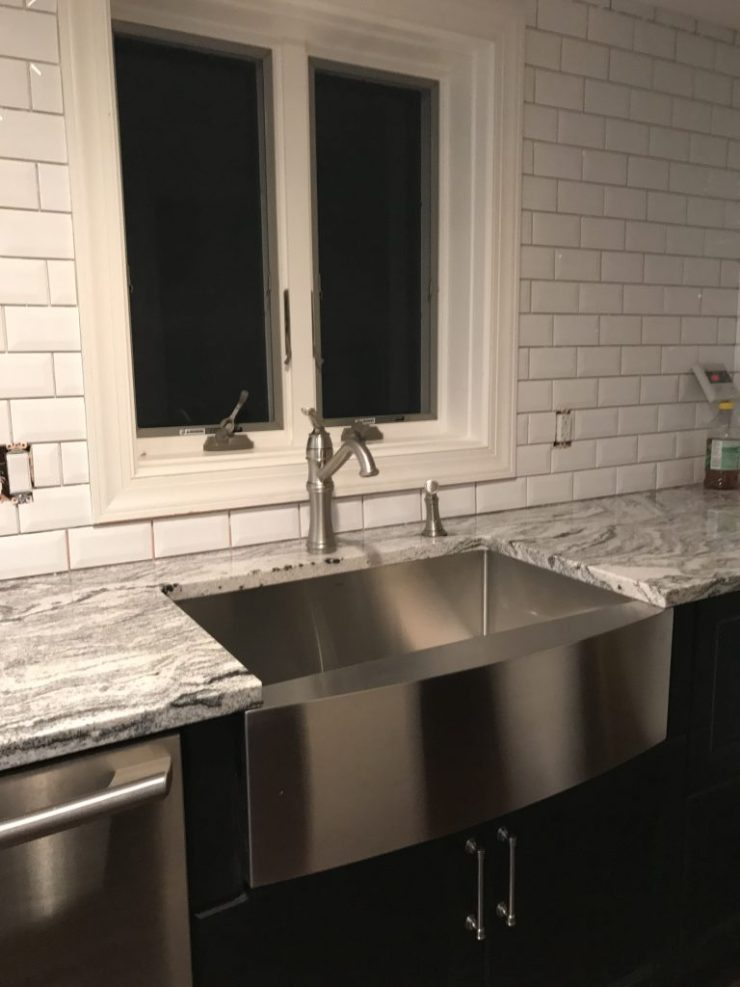 Kitchen Reveal - Ikea cabinets - granite counters - beveled backsplash - Check out the details on Pinterest Addict Blog