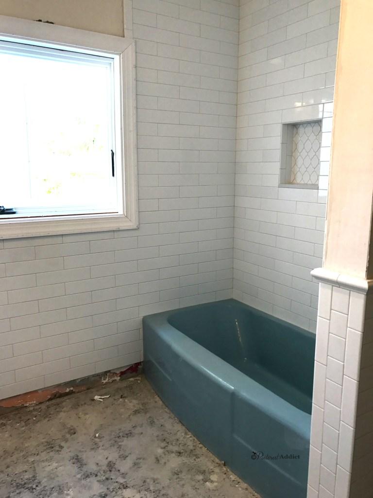 12 x 3 subway tile shower surround wainscoting shower niche blue bathtub