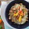 arroz, couve flor, pimento