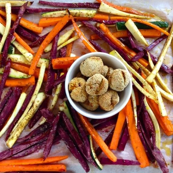 Croquetes de carne com palitos de legumes