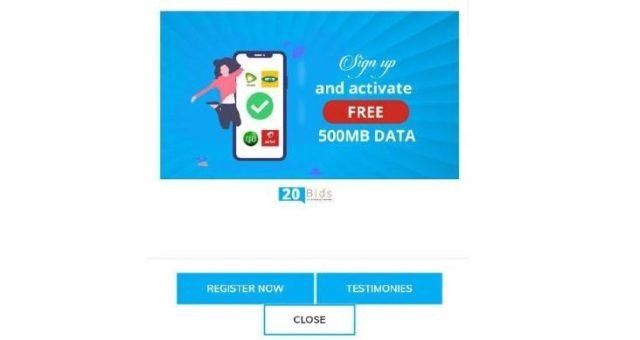 20Bids Free Data App