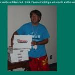 Ryan Suenaga with Krispy Kreme doughnuts