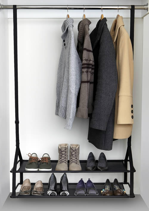 Collapsible Hanging Wardrobe Storage Shelves Shoe Rack 4 Tier