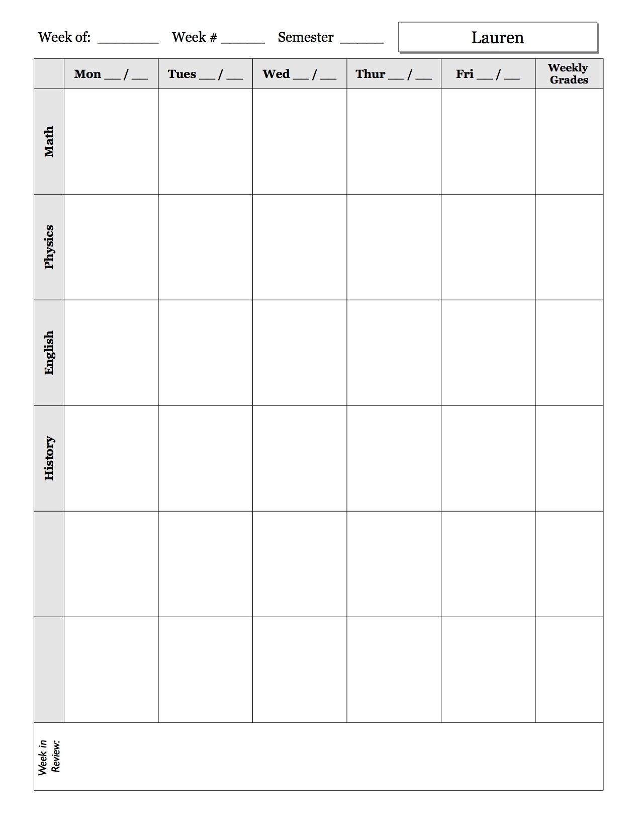 Weekly Schedule Sheet Examples