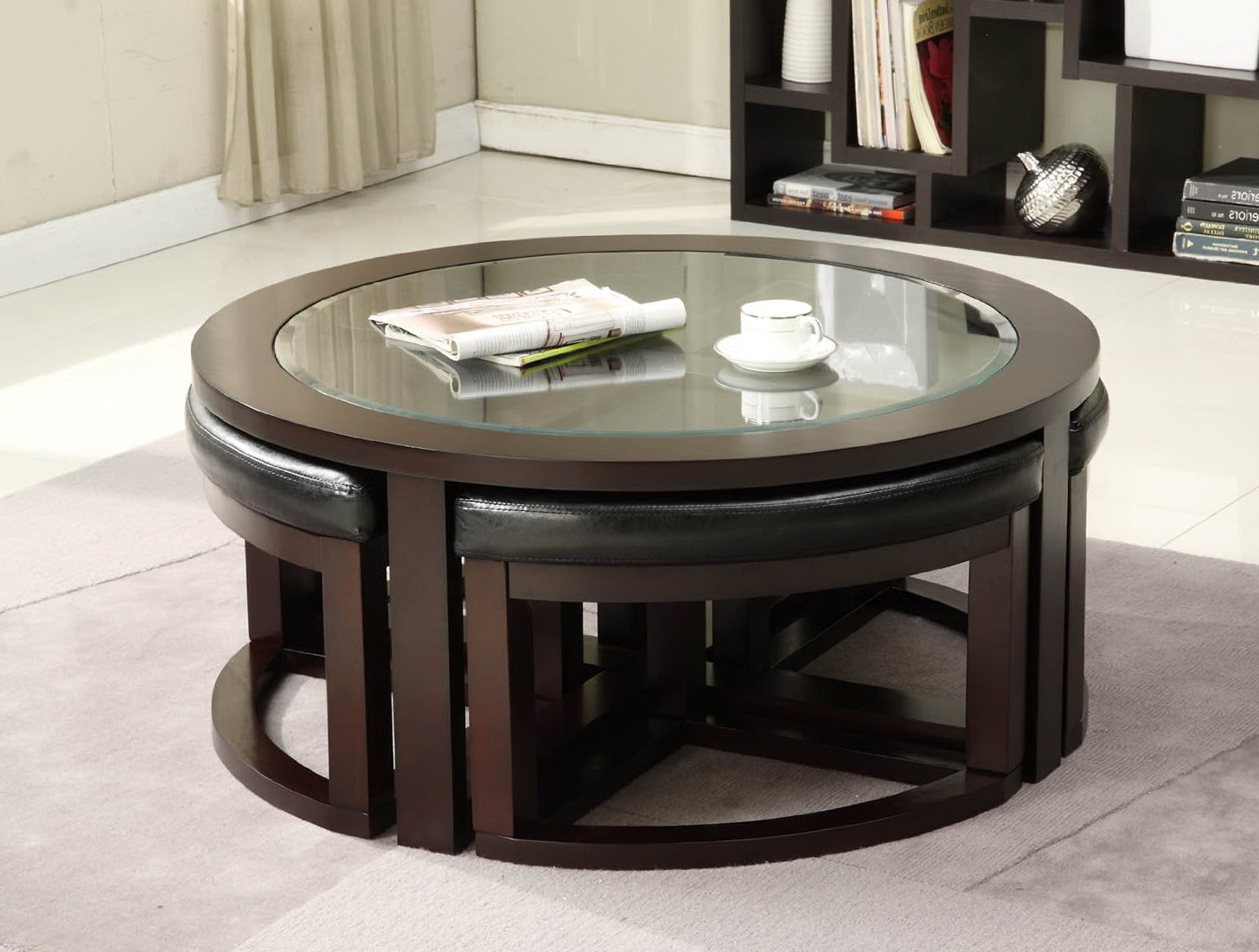 a round coffee table with friends