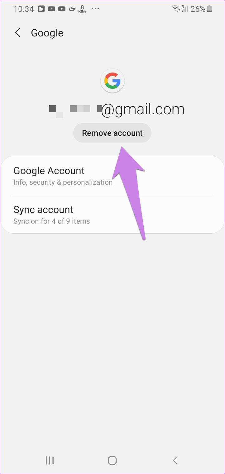 O que acontece quando você remove a Conta do Google do telefone 4