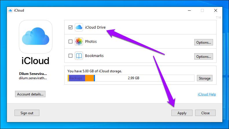 I Cloud Drive Alterar local da pasta Windows 8