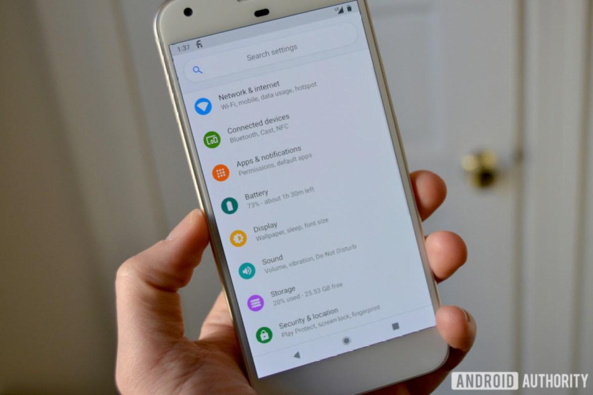 tela de configurações do android