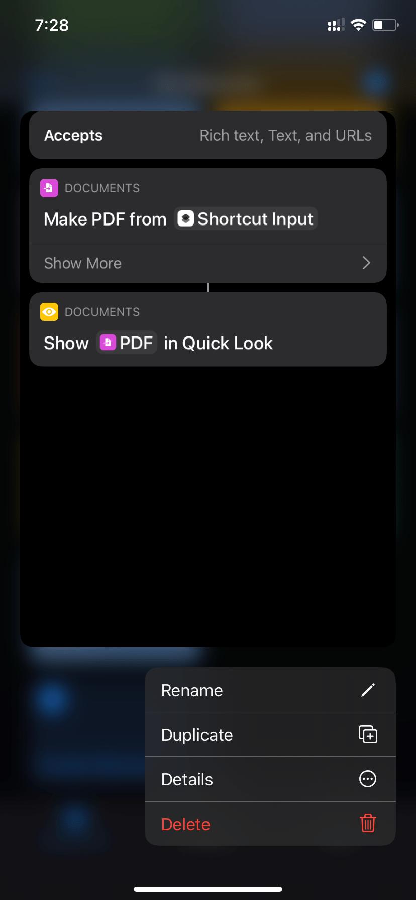 Siri Pdf Shortcut