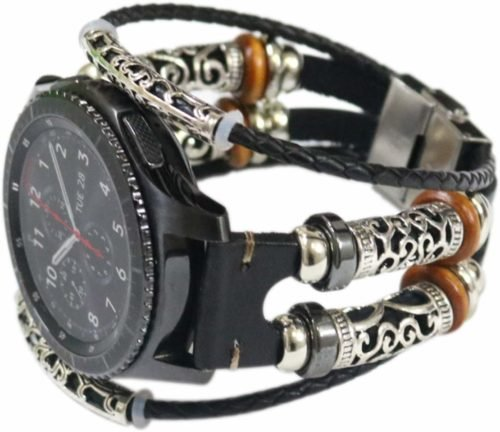 Pulseira de couro xhnee para samsung galaxy watch 46mm