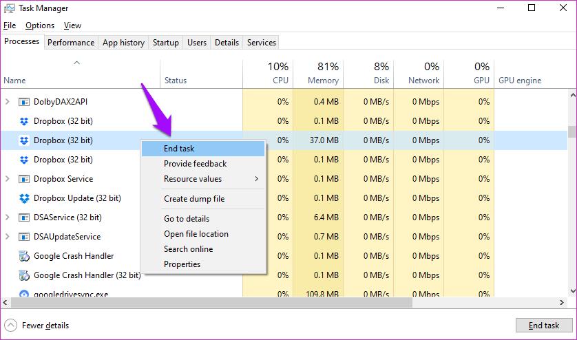 Corrigir o Dropbox não conectar ou sincronizar no Windows 10 Erro 14